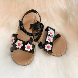 Gymboree Black Patent Flower Sandals Size 8